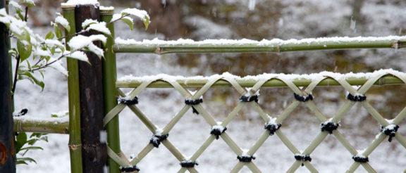 雪化粧された京大和の庭園