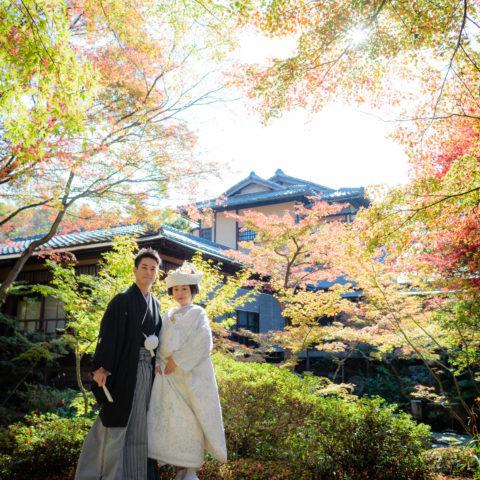 紅葉が美しい庭園にて撮影された新郎新婦