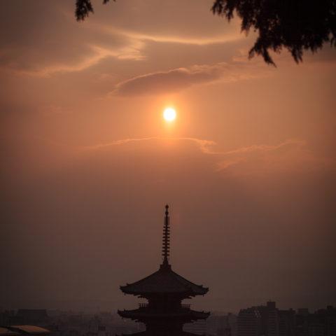 八坂の塔と夕焼け