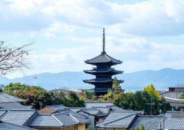 八坂の塔と京の町並みの景色