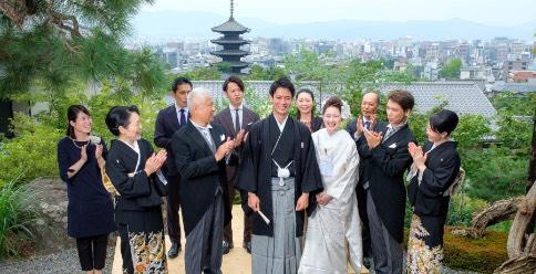 八坂神社と京の町並みを背景とした集合写真